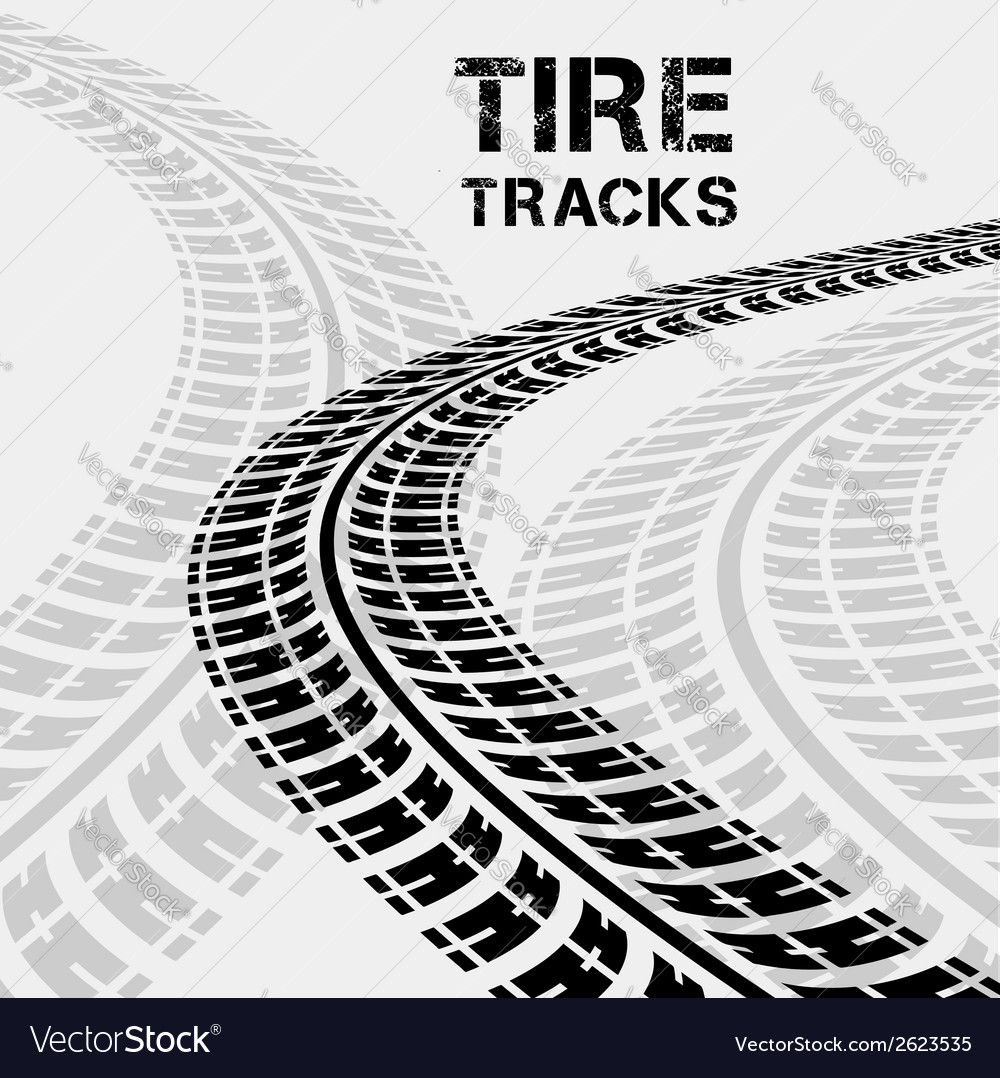 Tire tracks in perspective view vector | Price: 1 Credit (USD $1)