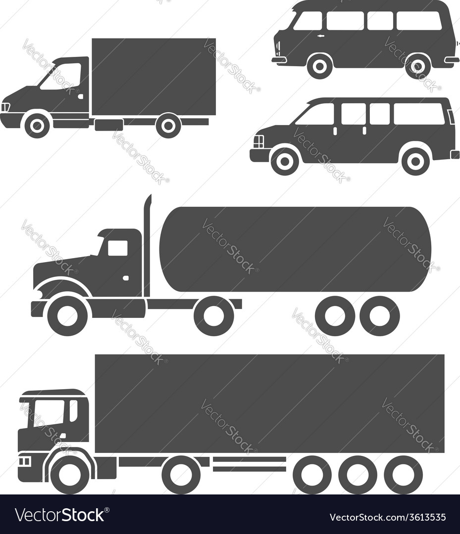 Trucks icons set vector | Price: 1 Credit (USD $1)