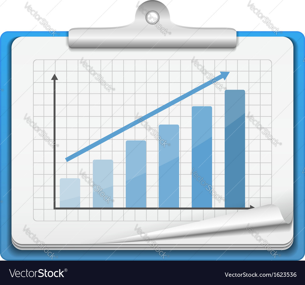 Clipboard with bar graph vector | Price: 1 Credit (USD $1)