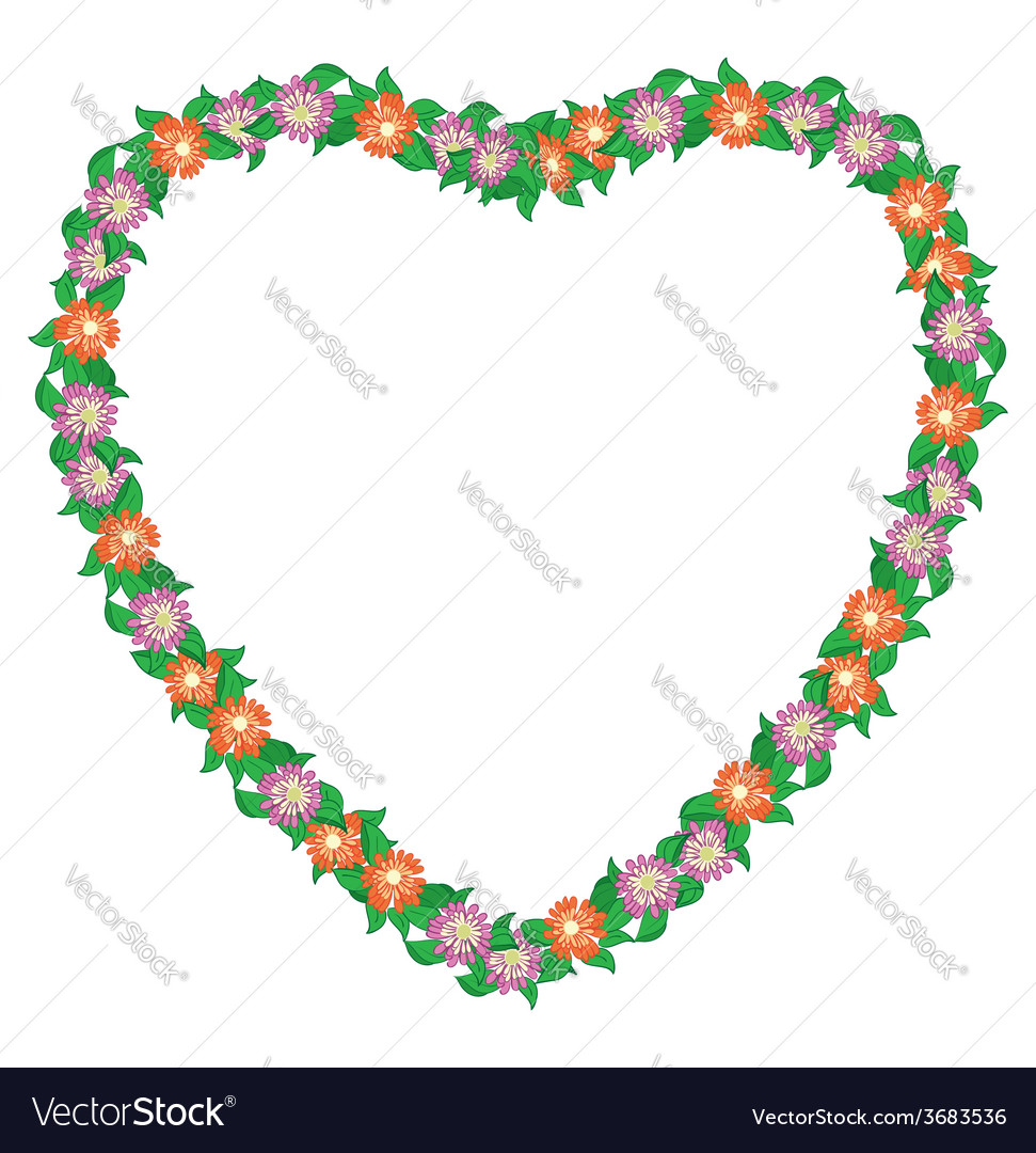 Floral heart with flowers - frame vector | Price: 1 Credit (USD $1)