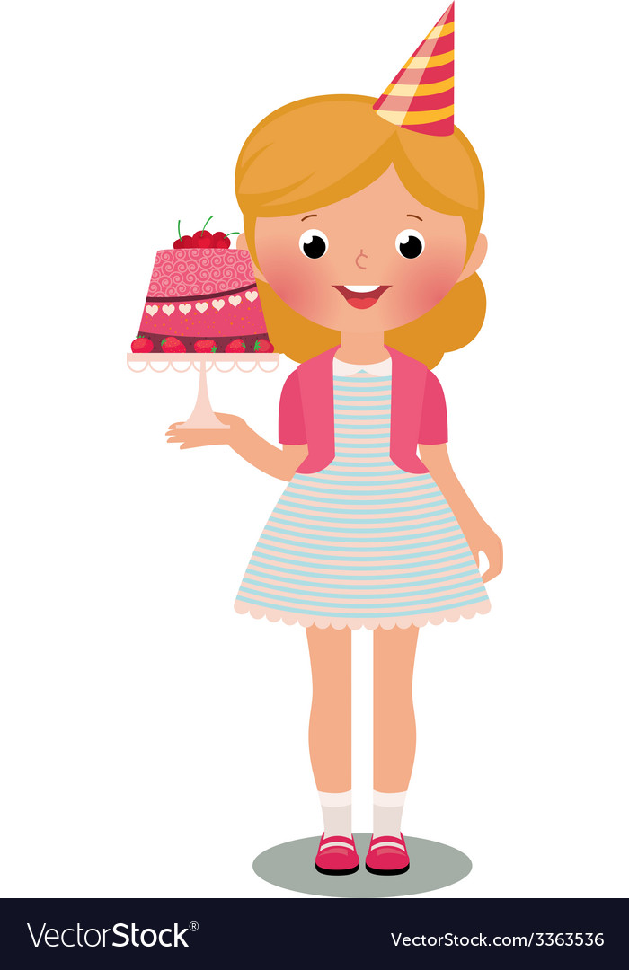 Girl with birthday cake vector | Price: 1 Credit (USD $1)