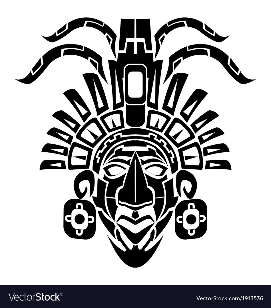 Mayan mask tribal tattoo vector | Price: 1 Credit (USD $1)