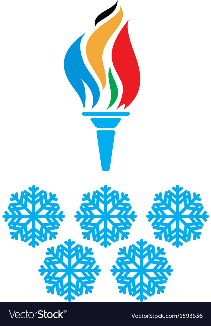 Olympic symbols torch and rings vtctor vector | Price: 1 Credit (USD $1)