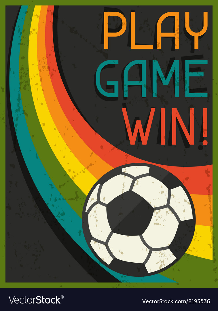 Play game win retro poster in flat design style vector | Price: 1 Credit (USD $1)