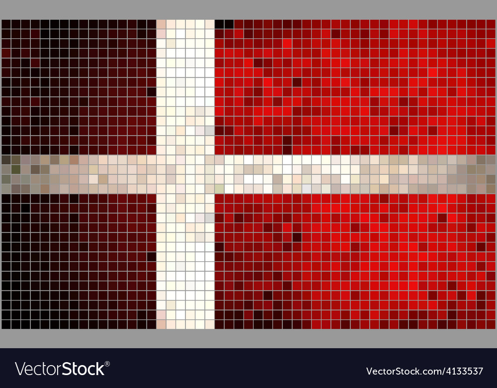 Abstract mosaic flag of denmark vector | Price: 1 Credit (USD $1)