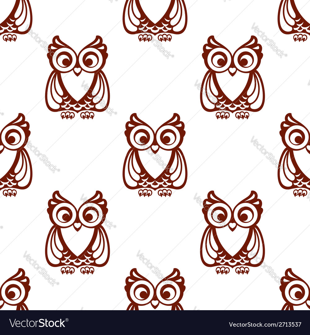 Cartoon brown owl seamless pattern vector | Price: 1 Credit (USD $1)