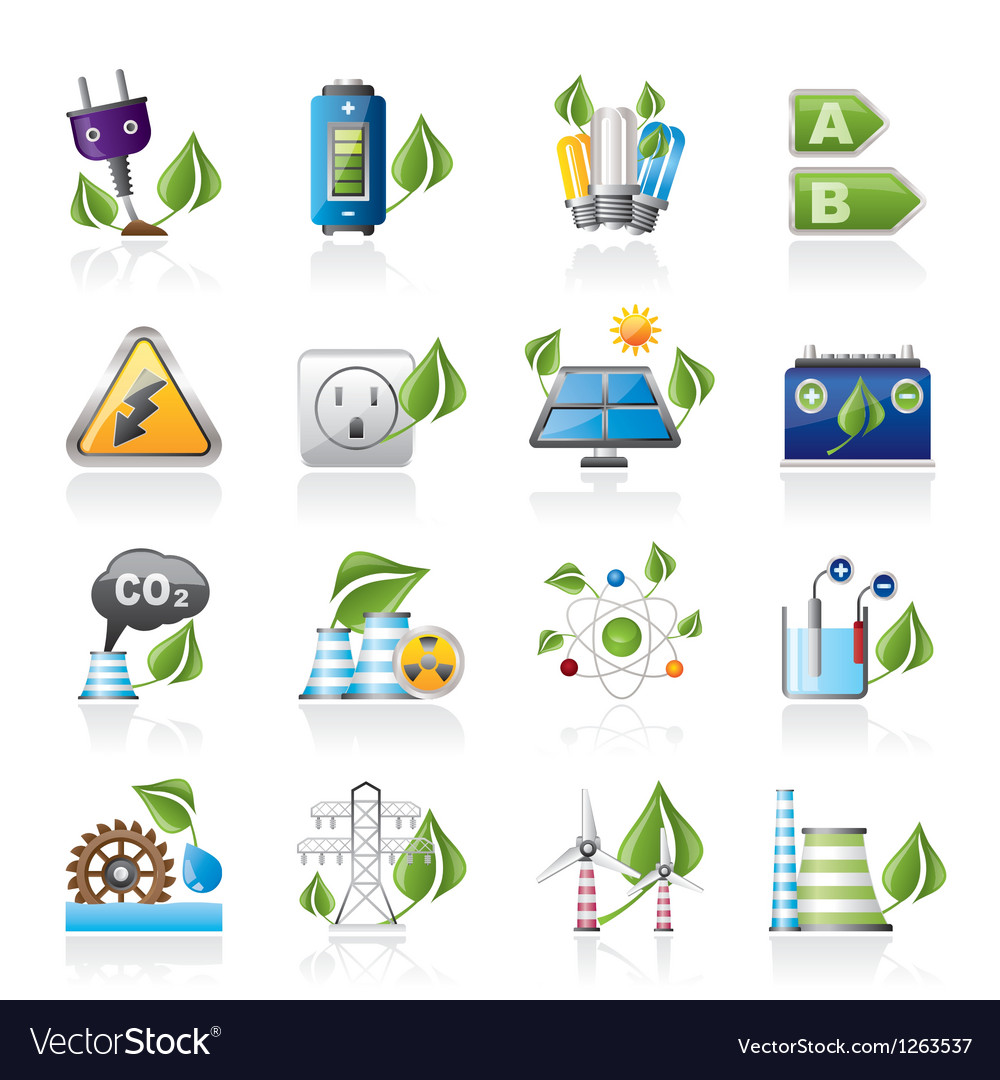 Green energy and environment icons vector | Price: 3 Credit (USD $3)