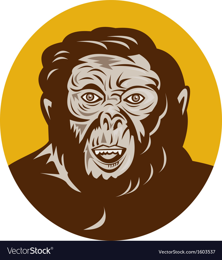 Prehistoric man head facing front vector | Price: 1 Credit (USD $1)