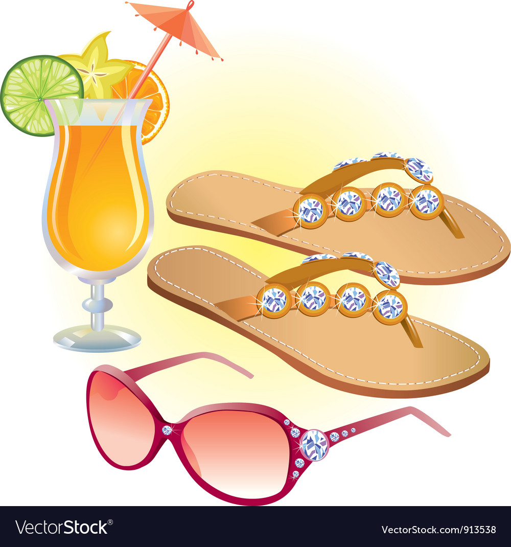 Beach accessories vector | Price: 3 Credit (USD $3)