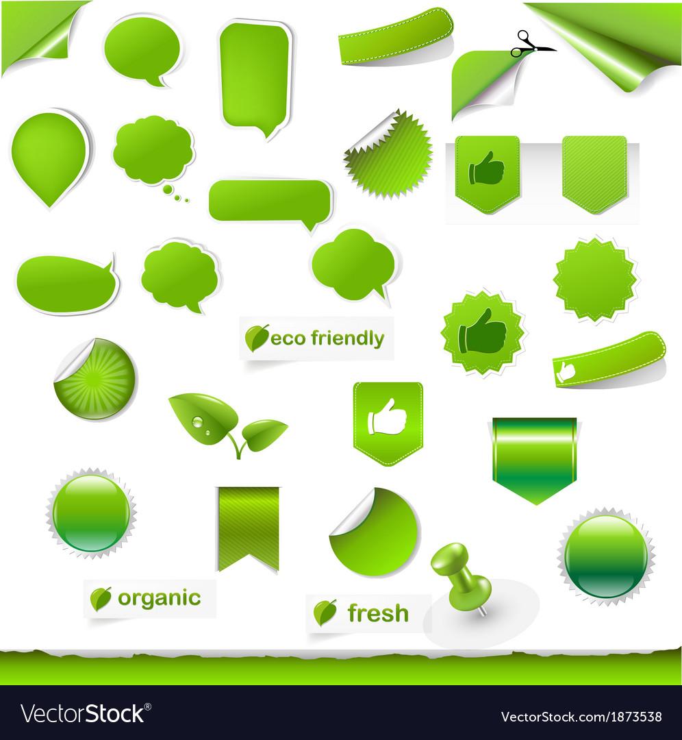 Big green symbols set vector | Price: 1 Credit (USD $1)