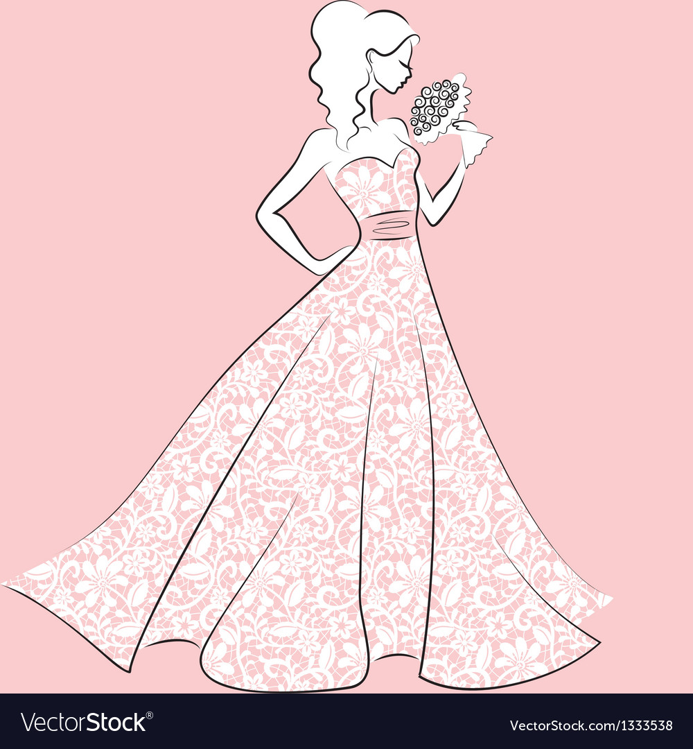 Bride in lace wedding dress vector | Price: 1 Credit (USD $1)