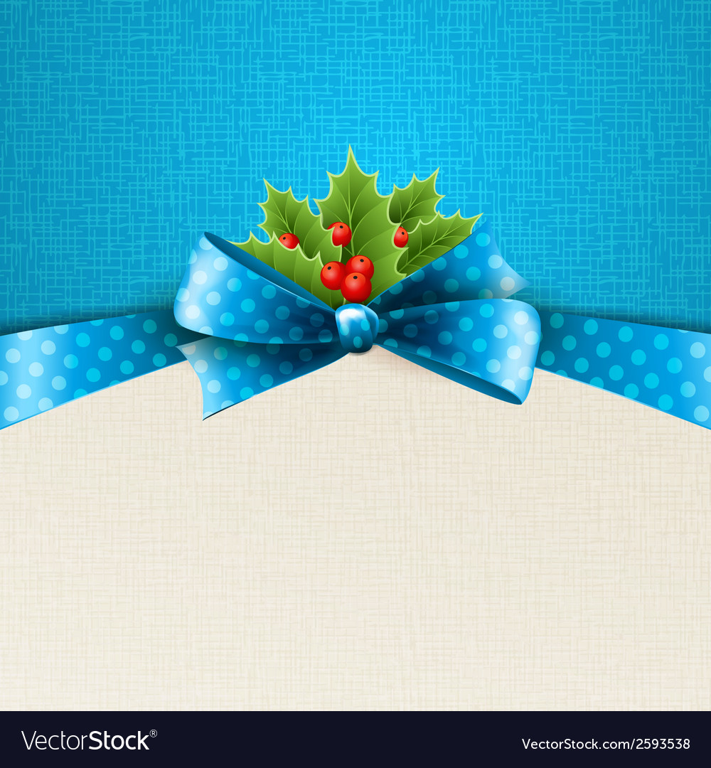 Christmas background with bow and holly vector   Price: 1 Credit (USD $1)