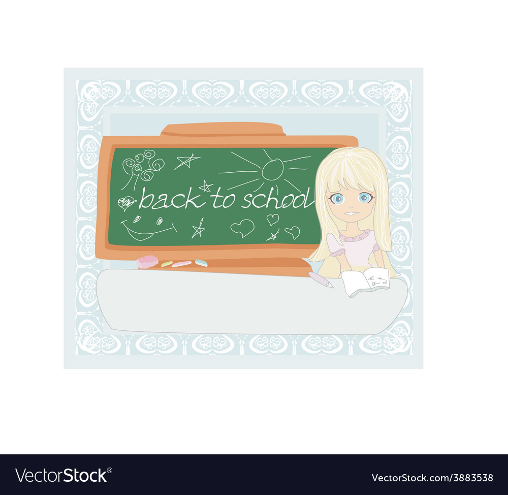 Cute girl at the table - back to school vector | Price: 1 Credit (USD $1)
