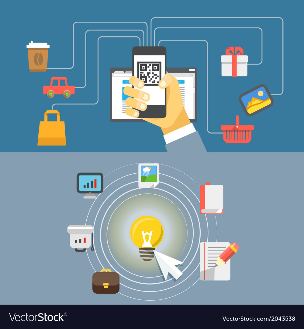 Digital media industry flat design concept vector | Price: 1 Credit (USD $1)