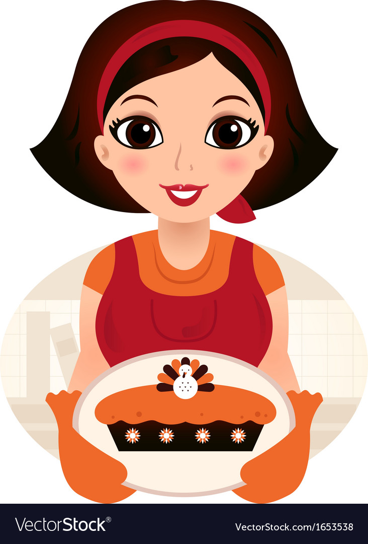 Retro cartoon woman serving thanksgiving food vector | Price: 1 Credit (USD $1)