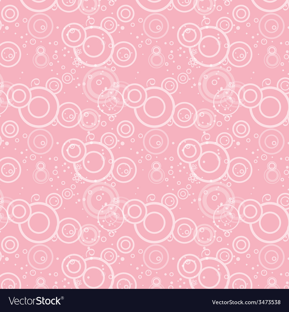 Seamless texture of pink circles and flowers vector | Price: 1 Credit (USD $1)