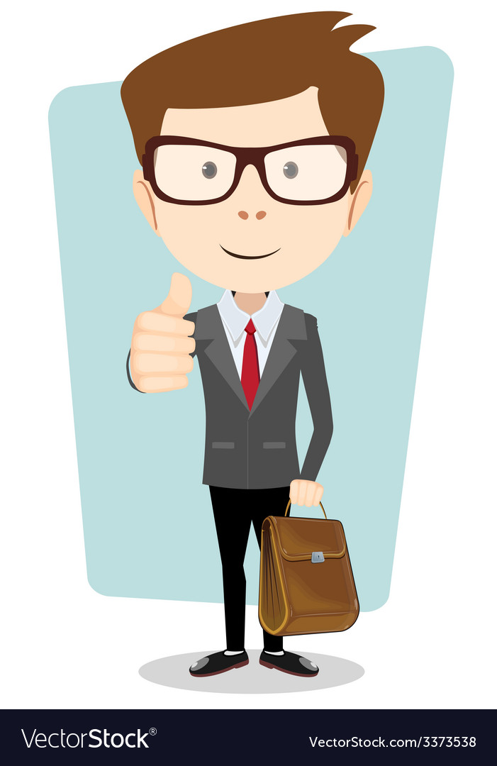 Smiling winking cartoon business man in a jacket vector | Price: 1 Credit (USD $1)
