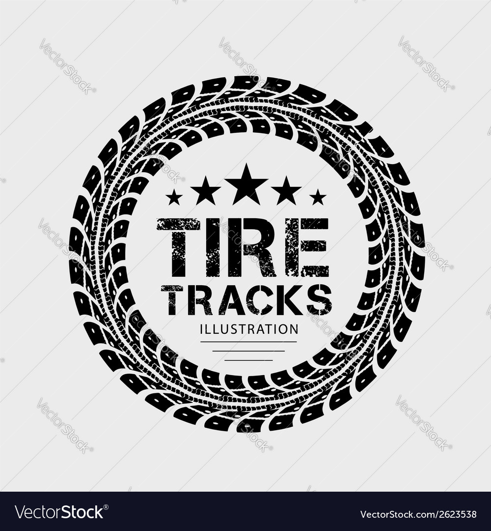 Tire tracks on grey background vector | Price: 1 Credit (USD $1)