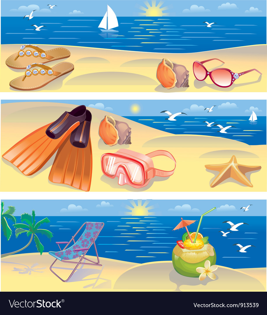 Beach vacation banners vector | Price: 3 Credit (USD $3)
