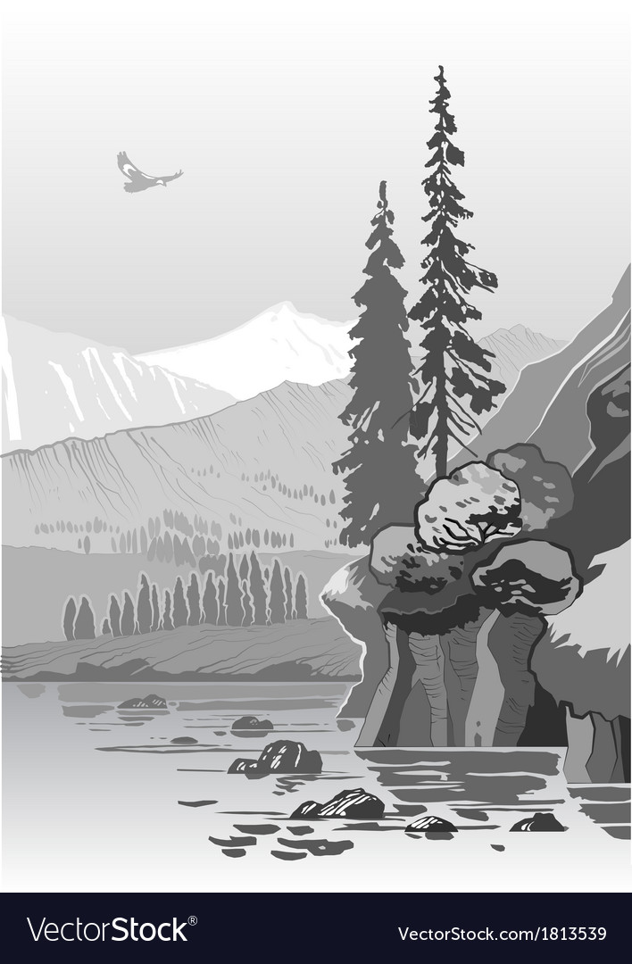 Beautiful grayscale mountain landscape vector | Price: 1 Credit (USD $1)