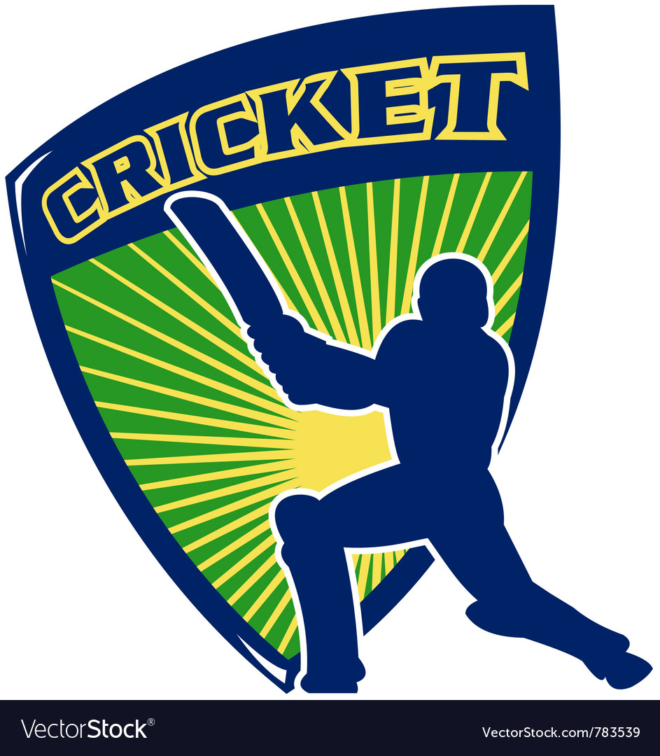 Cricket sports shield vector | Price: 1 Credit (USD $1)