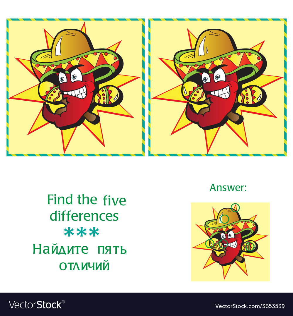 Find 5 differences - puzzle for kids vector | Price: 1 Credit (USD $1)