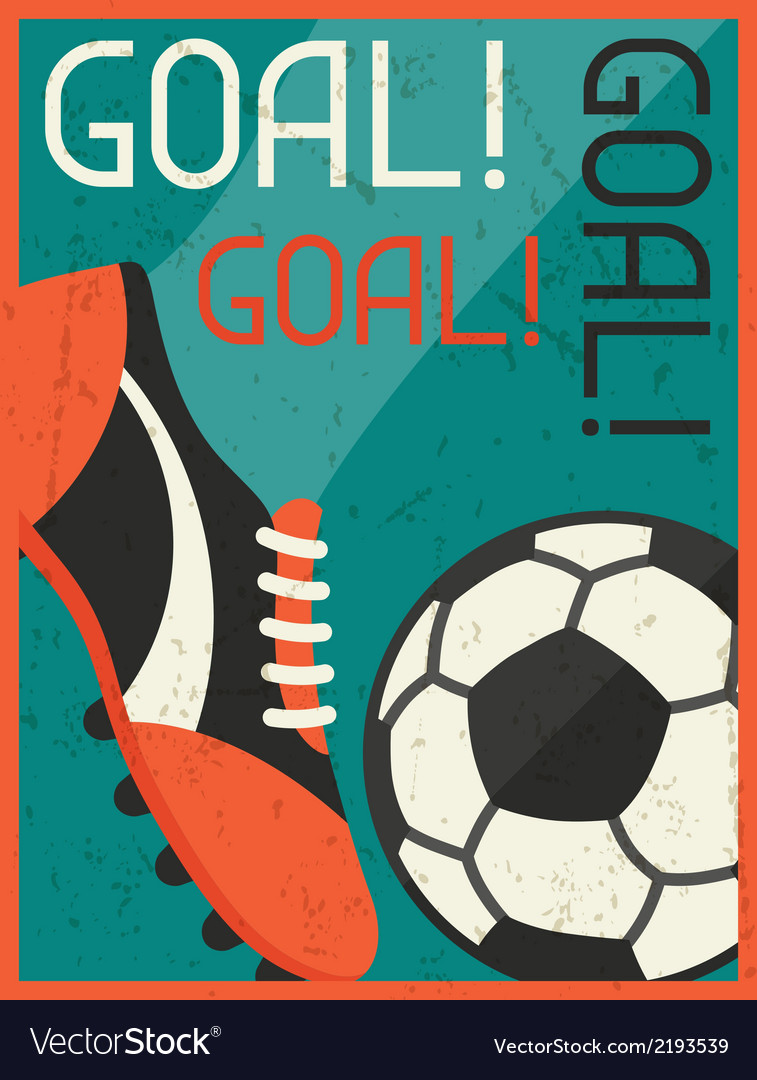 Goal retro poster in flat design style vector | Price: 1 Credit (USD $1)