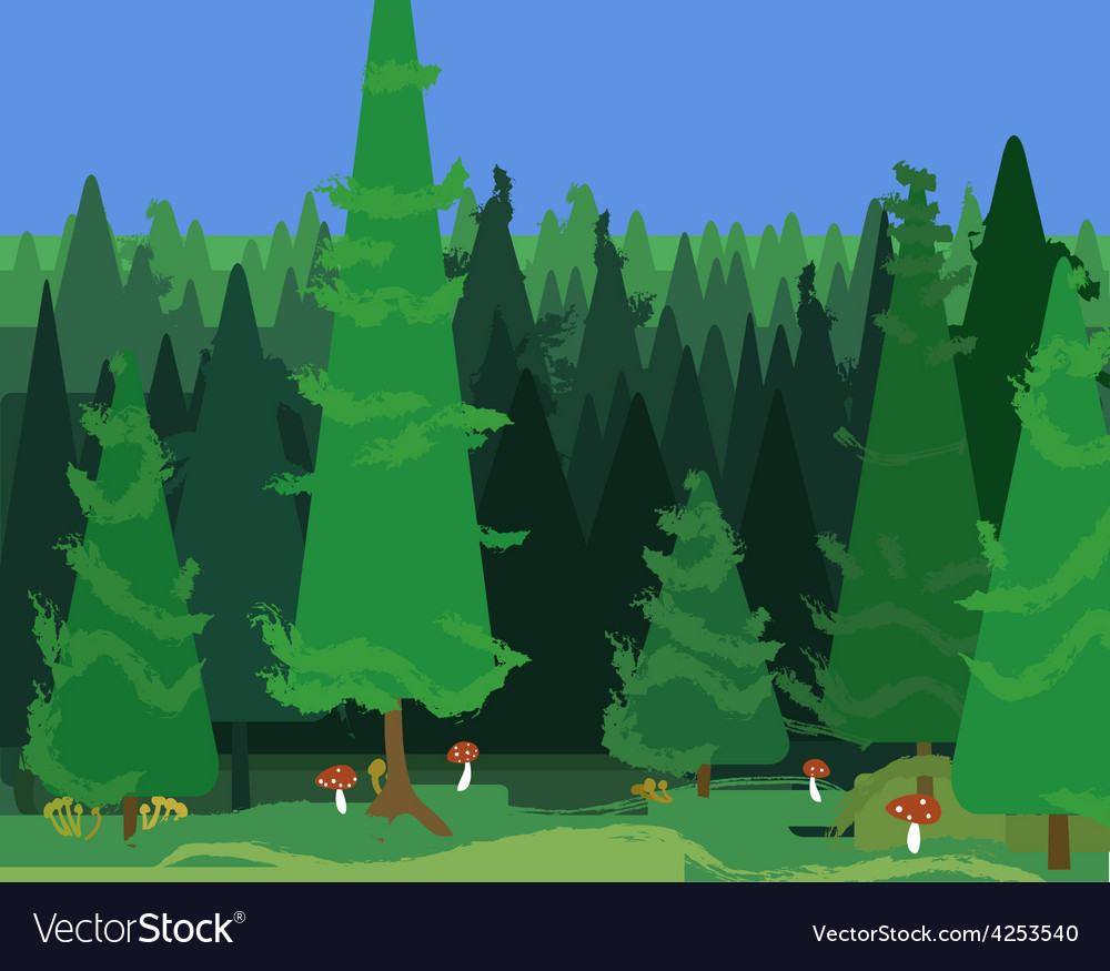 Abstract spruce forest landscape vector | Price: 1 Credit (USD $1)