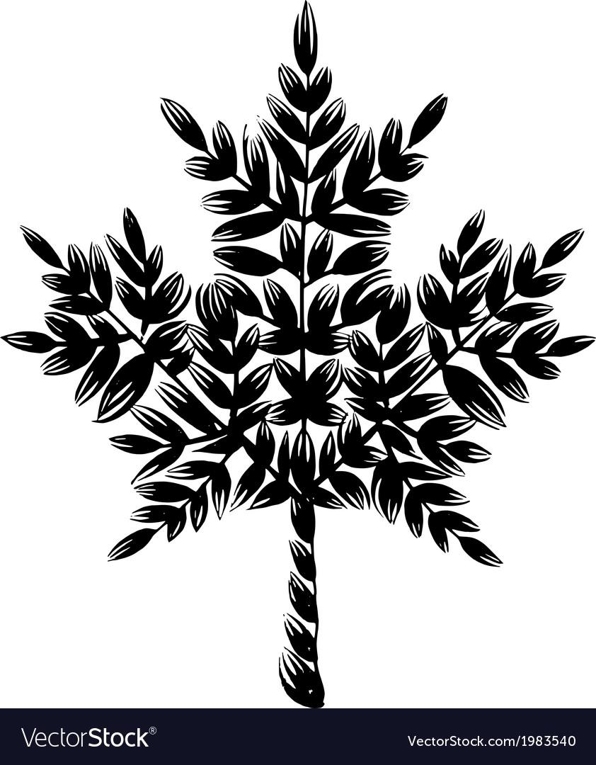 Decorative silhouette maple leaf vector   Price: 1 Credit (USD $1)