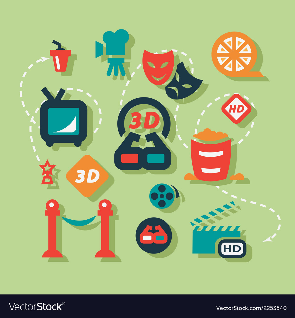 Flat cinema icons set vector | Price: 1 Credit (USD $1)