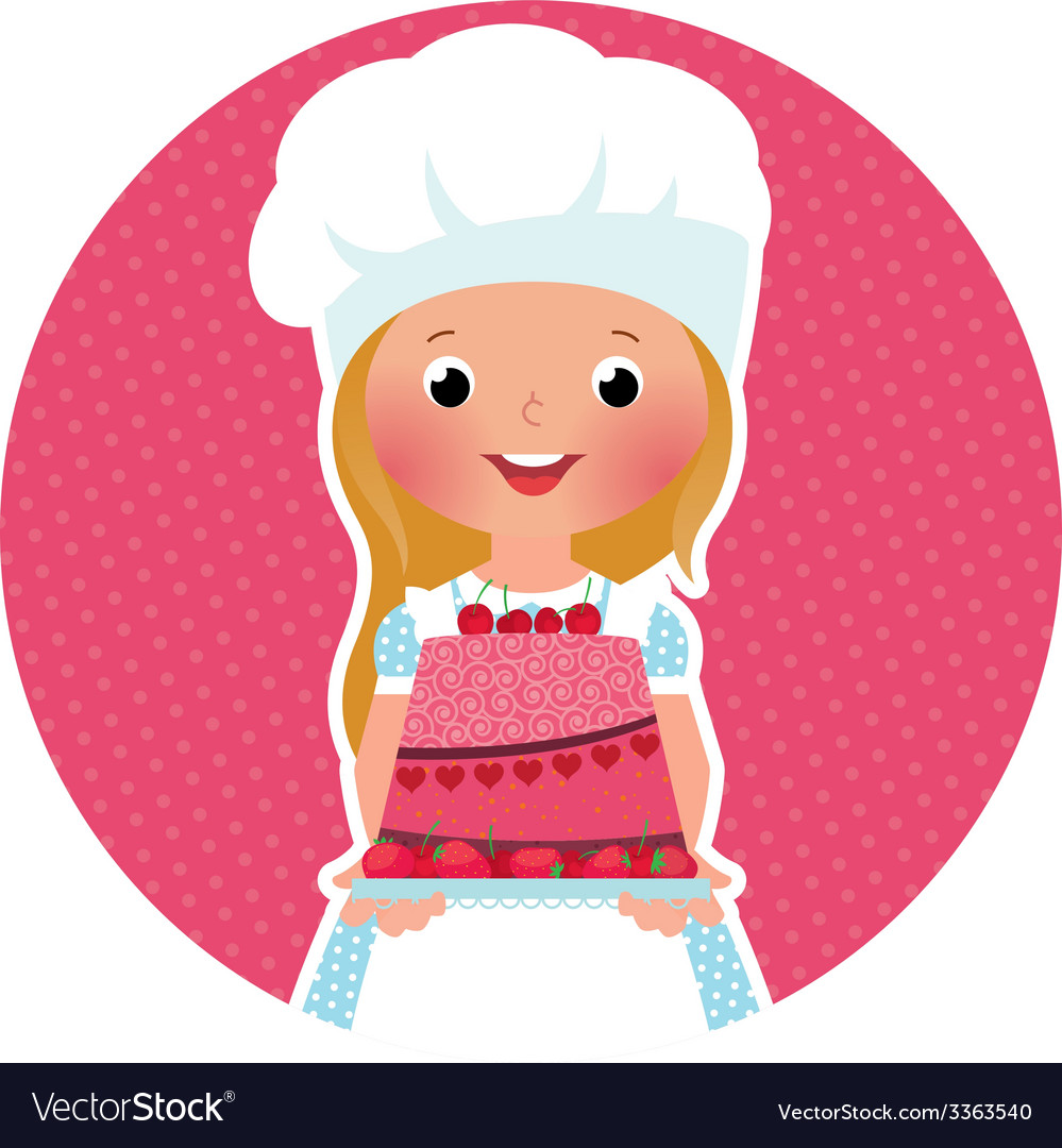 Girl with cake baker vector | Price: 1 Credit (USD $1)