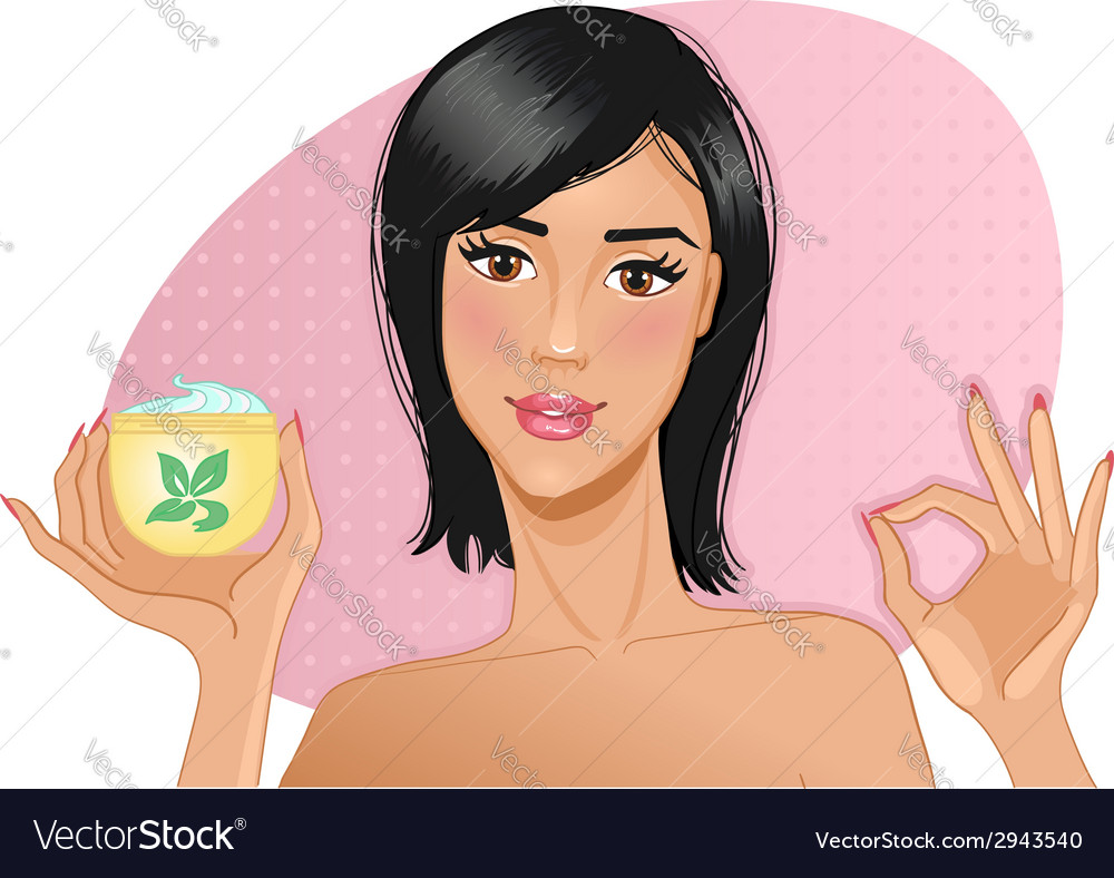 Girl with cream in hand vector | Price: 1 Credit (USD $1)