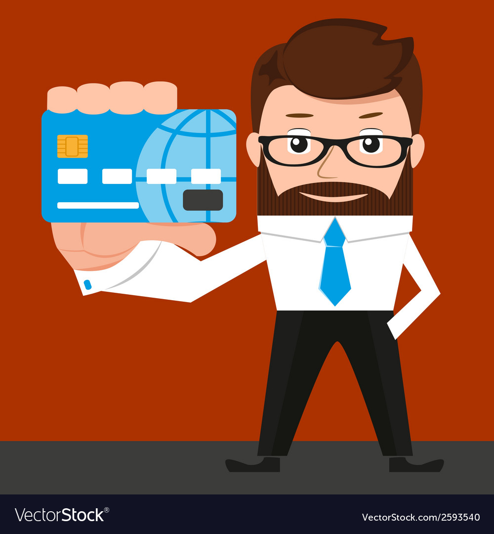 Lucky businessman is presenting a credit card vector | Price: 1 Credit (USD $1)