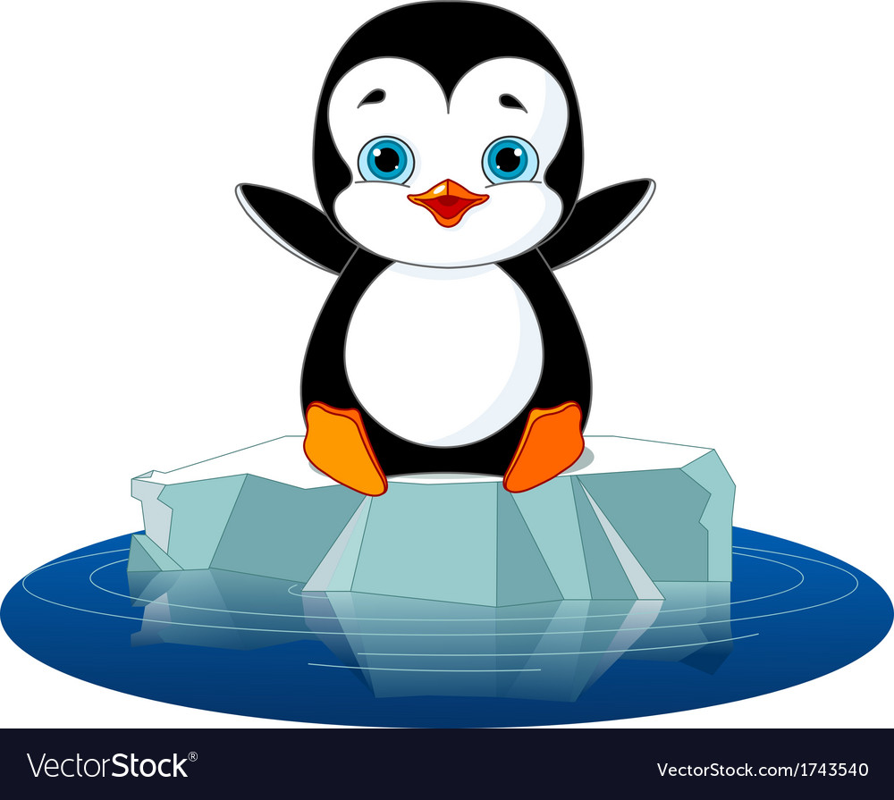 Penguin on ice vector | Price: 1 Credit (USD $1)