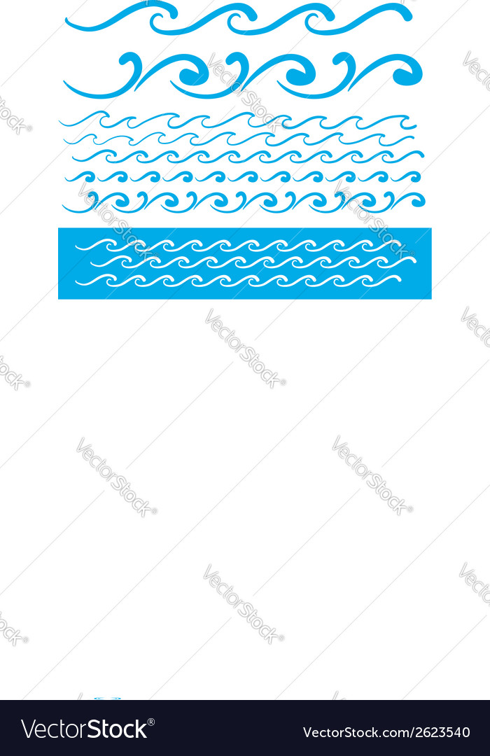 Seamless blue wave line pattern vector | Price: 1 Credit (USD $1)