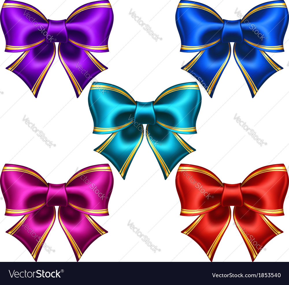 Set of festive bows with golden edging vector | Price: 1 Credit (USD $1)