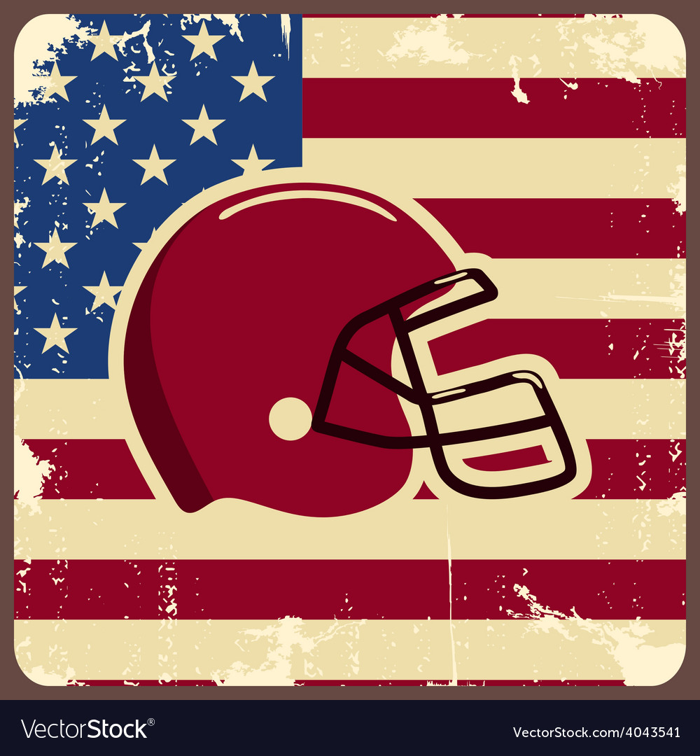 American football label with helmet and flag vector | Price: 1 Credit (USD $1)