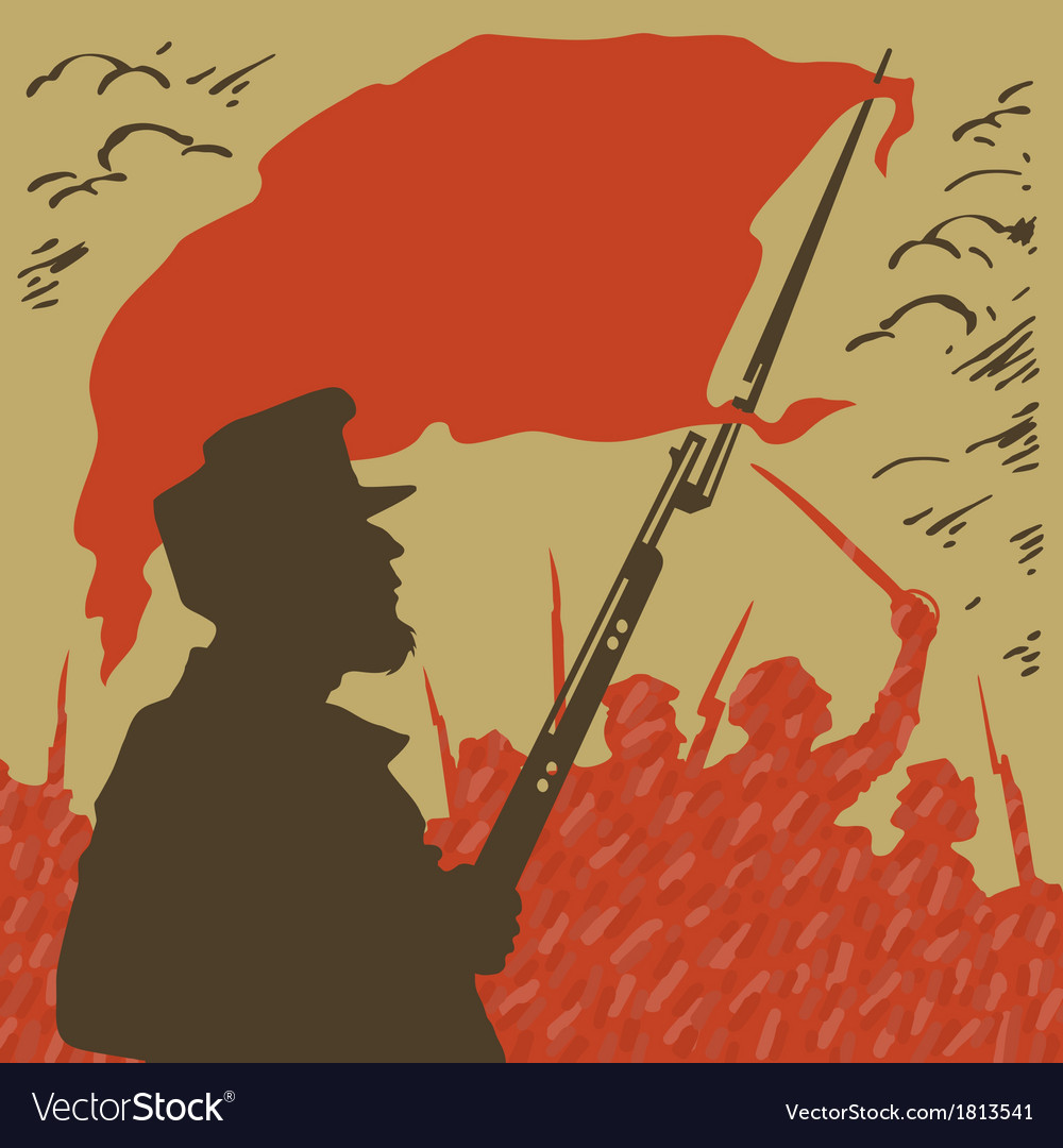 Armed man with a red flag revolution vector | Price: 1 Credit (USD $1)