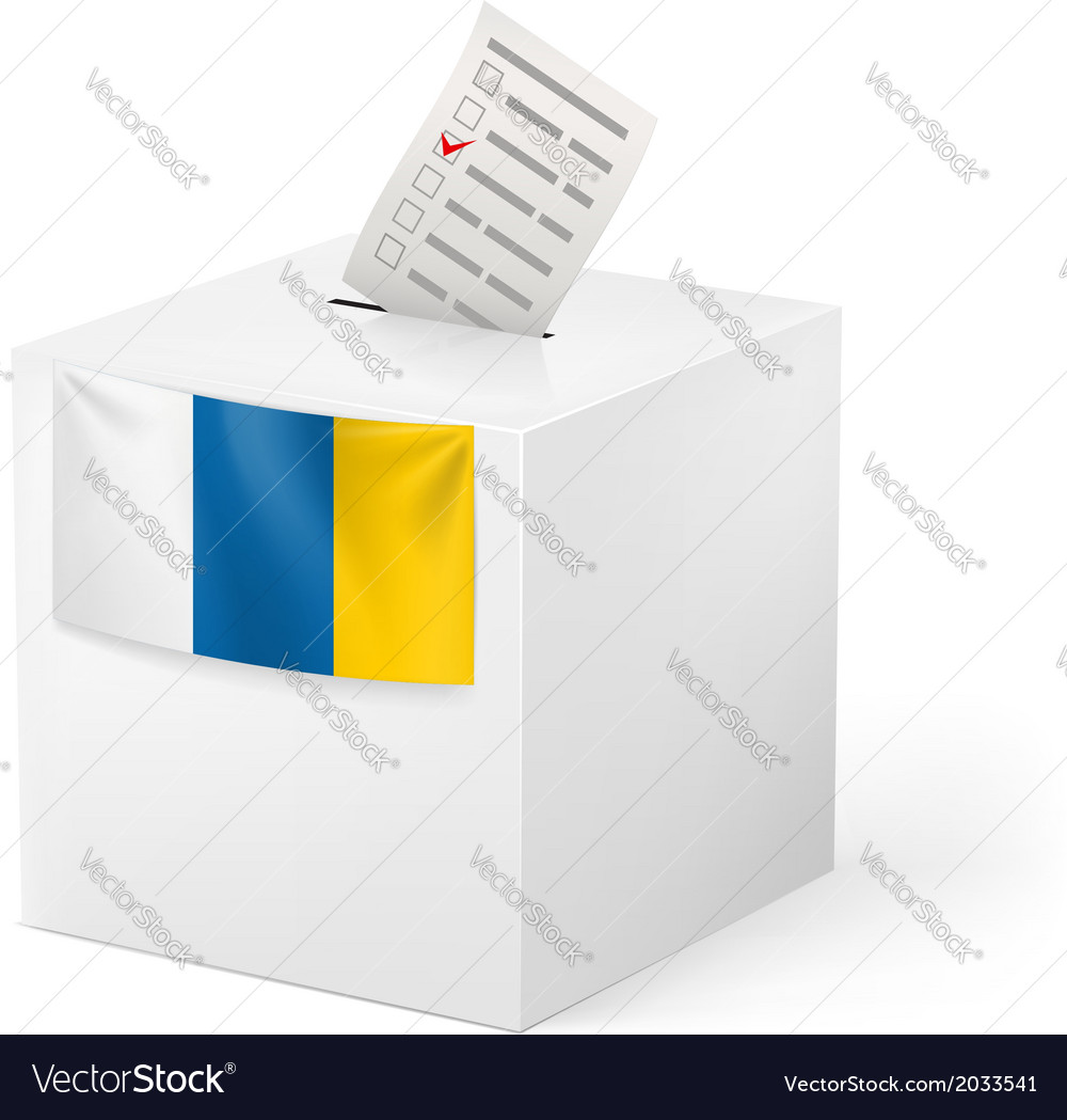 Ballot box with voting paper canary islands vector   Price: 1 Credit (USD $1)