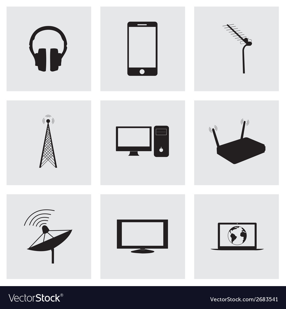 Black communication icons set vector   Price: 1 Credit (USD $1)