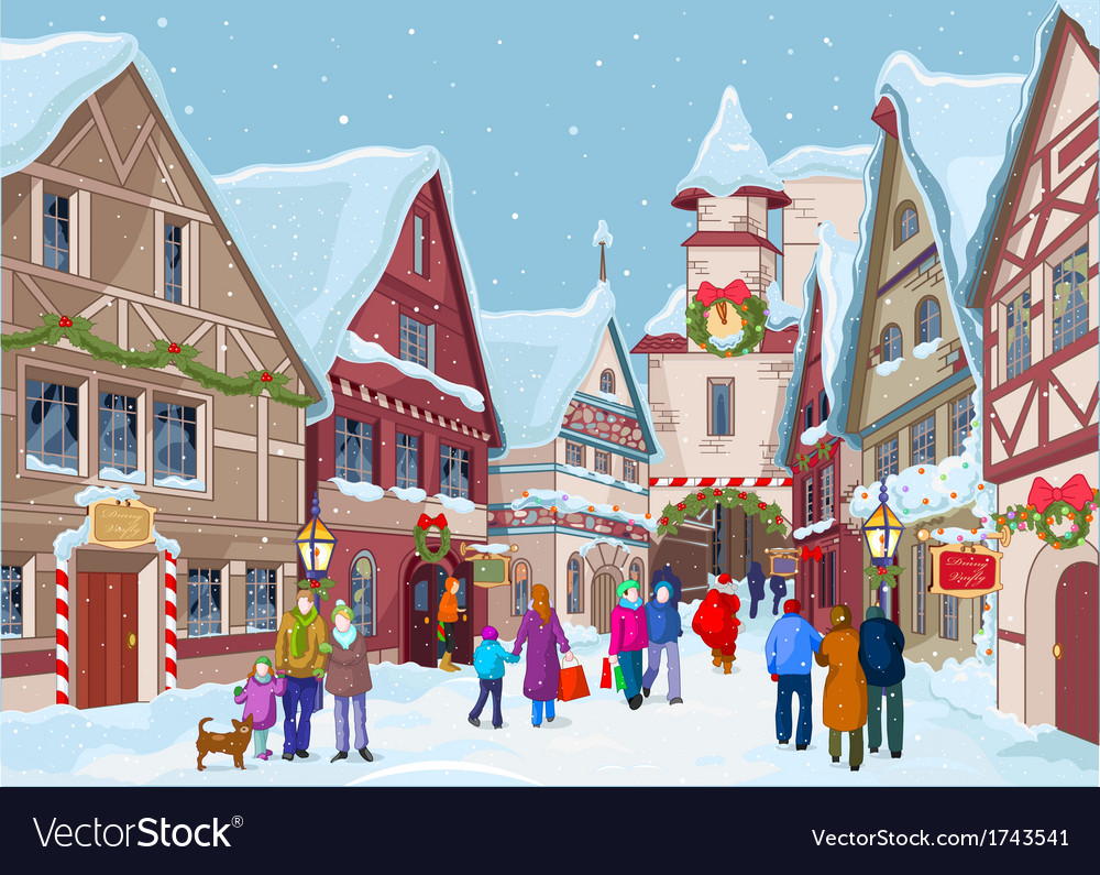 Christmas shopping street vector | Price: 3 Credit (USD $3)