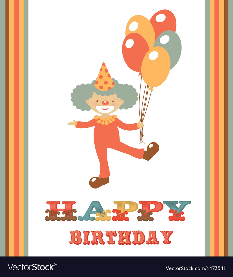 Clown birthday card vector | Price: 1 Credit (USD $1)