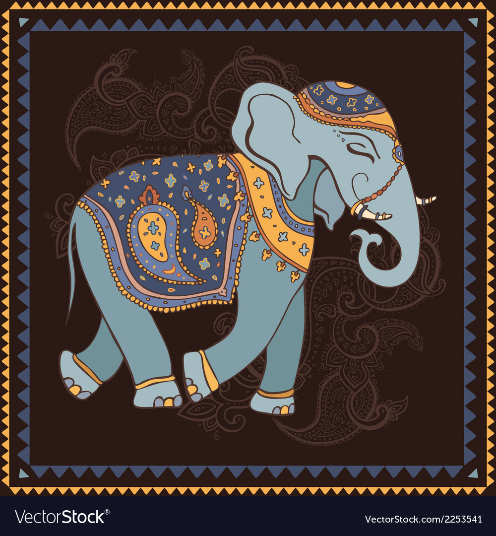 Elephant indian style vector | Price: 1 Credit (USD $1)