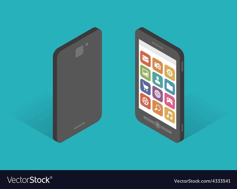 Flat design isometric mobile phone template vector | Price: 1 Credit (USD $1)