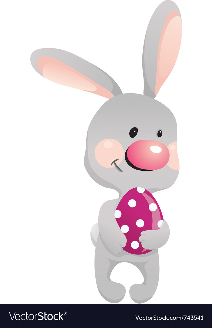 Funny rabbit with egg vector   Price: 1 Credit (USD $1)