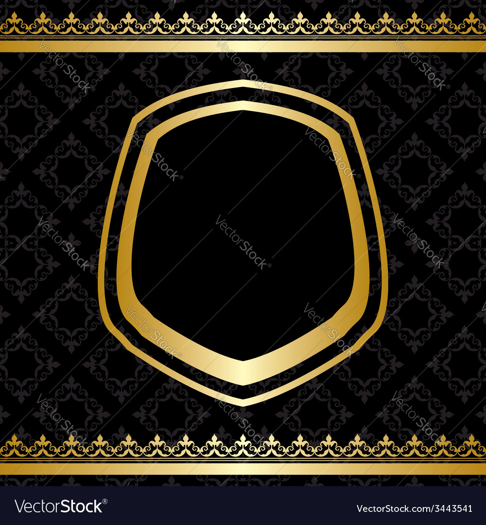 Golden frame and decorations on black background vector | Price: 1 Credit (USD $1)