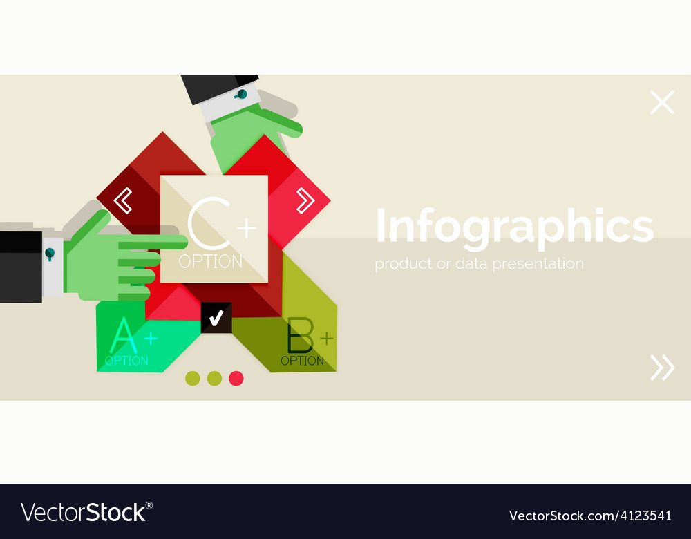 Infographic flat design banner with hands vector   Price: 1 Credit (USD $1)