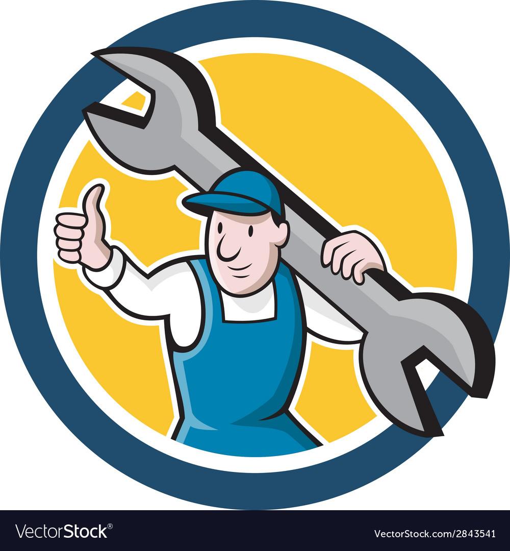 Mechanic thumbs up spanner circle cartoon vector | Price: 1 Credit (USD $1)