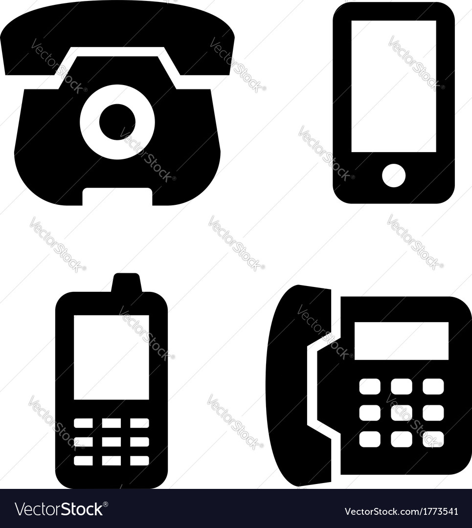 Phone icons set vector | Price: 1 Credit (USD $1)