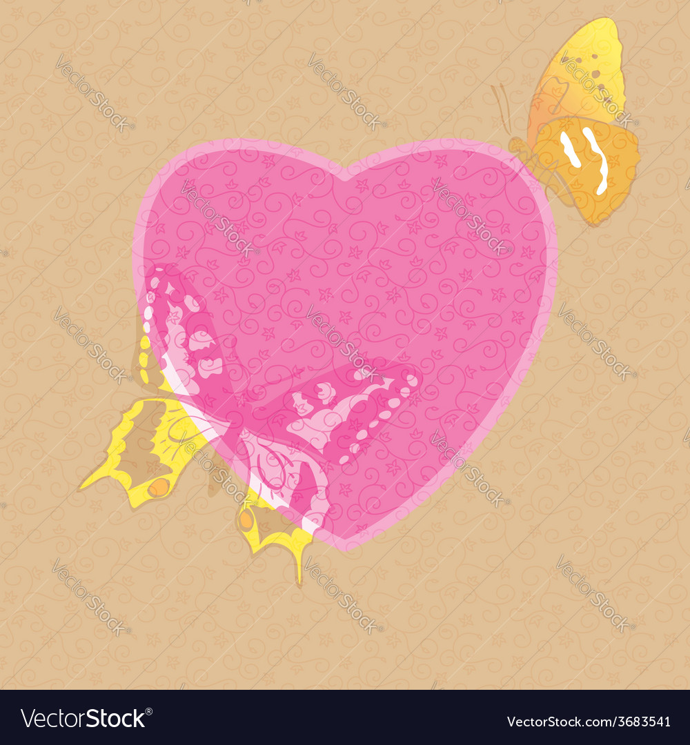 Valentine card - decorative heart with butterflies vector | Price: 1 Credit (USD $1)